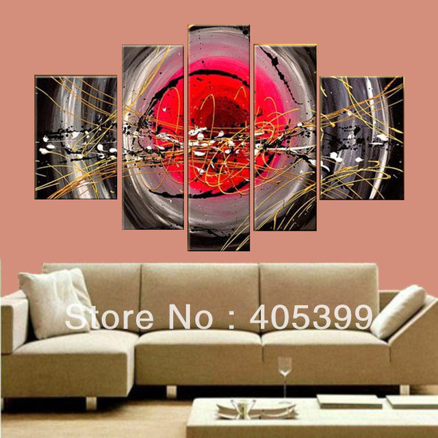 5Pcs Modern Abstract Oil Painting On Canvas Wall Art , Free Shipping Via DHL or EMS ,JYJZ042