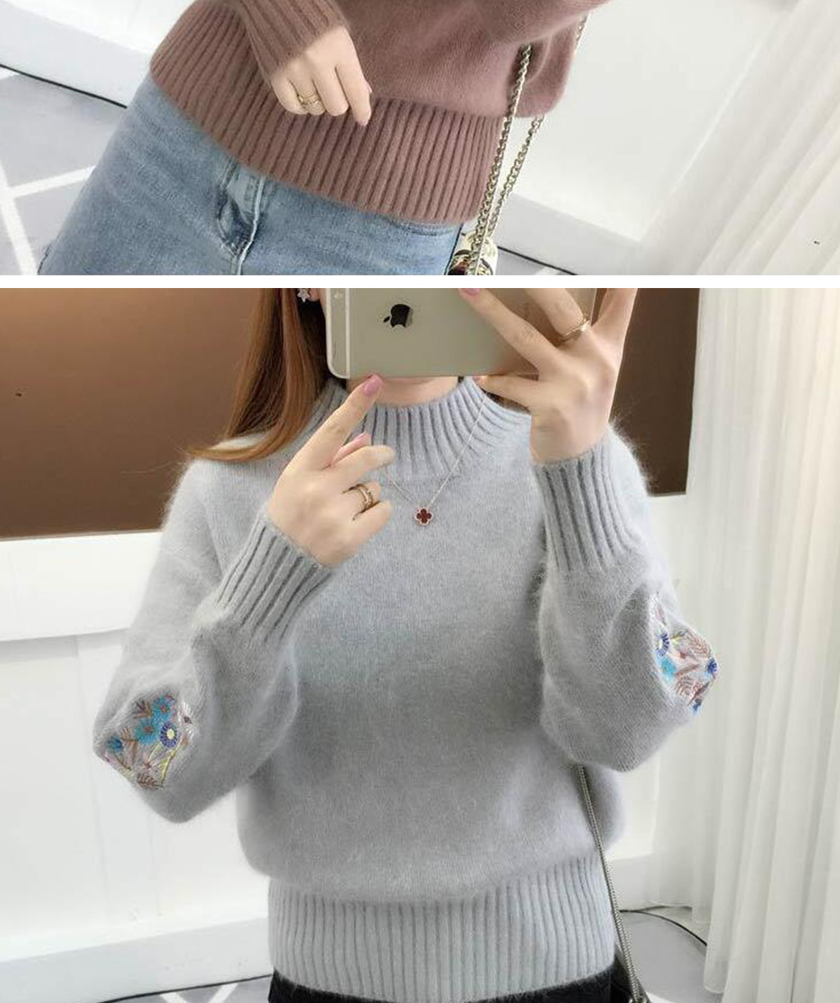 Surmiitro Cashmere Women Turtleneck 19 Autumn Winter Knitted Embroidery Jumper Women Sweaters And Pullovers Female Pull Femme 10