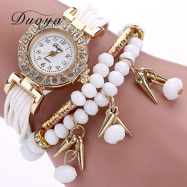 Duoya New Brand 2018 Fashion Women Dress Watch Pearl Crystal Stone Ladies Bracel