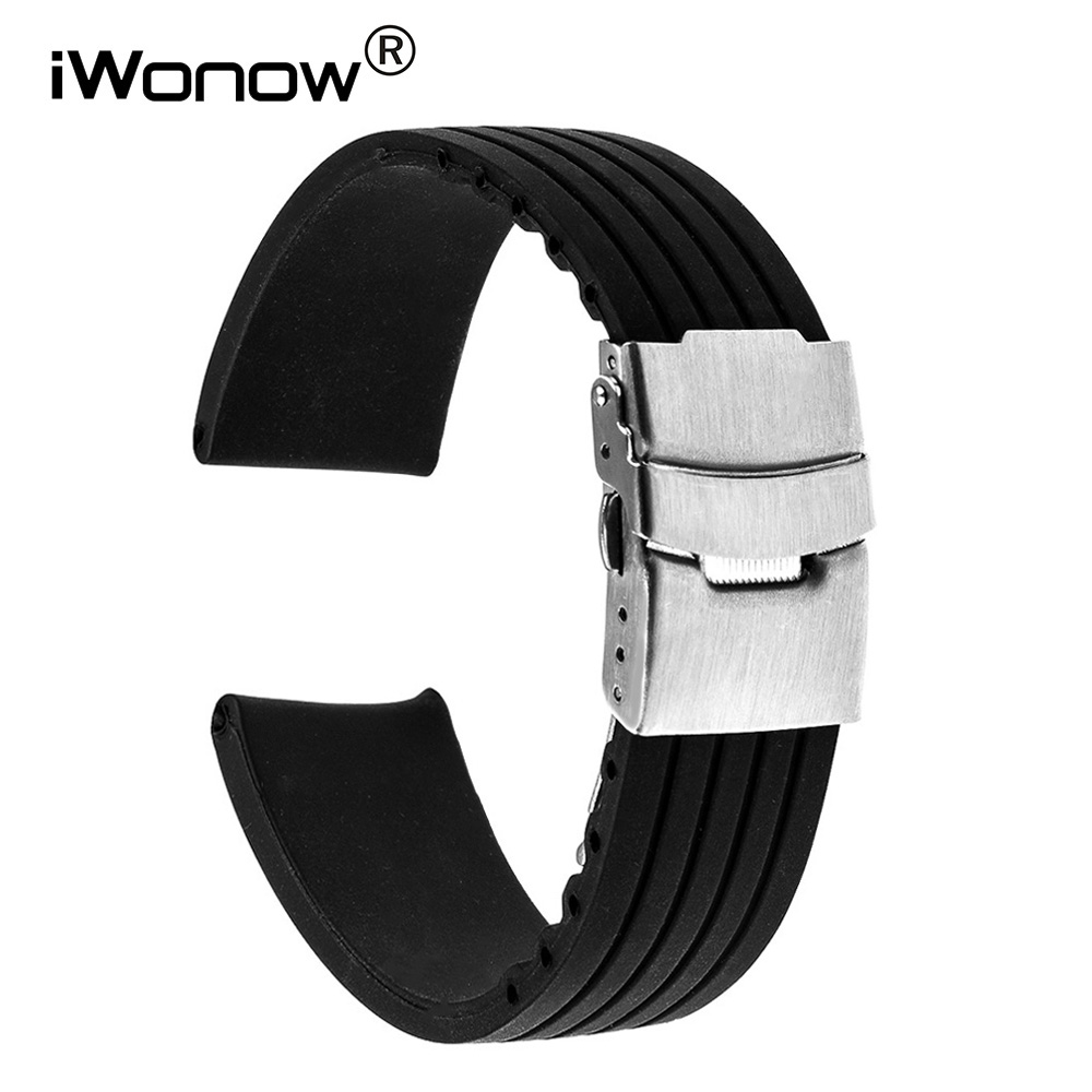 Silicone Rubber Watch Band 17mm 18mm 19mm 20mm for DW Daniel Wellington Stainless Safety ...