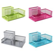 Metal Mesh Desk Organizer Pen Pencil Storage Holder with 3 Compartments for Home Office Students Supplies Accessories