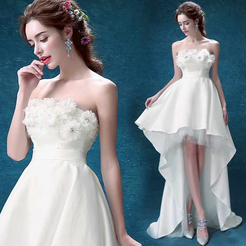 SOCCI panna młoda księżniczka suknie ślubne krótki przód długi powrót kwiat sukienka Off ramię małżeństwo Party suknia nowy Vestido De Noiva