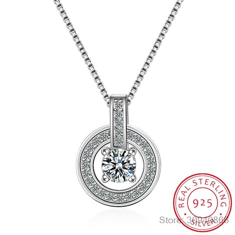 925 Sterling Silver Necklaces Rhinestone Double Circle Pendant Necklace Jewelry Collar Colar De Plata