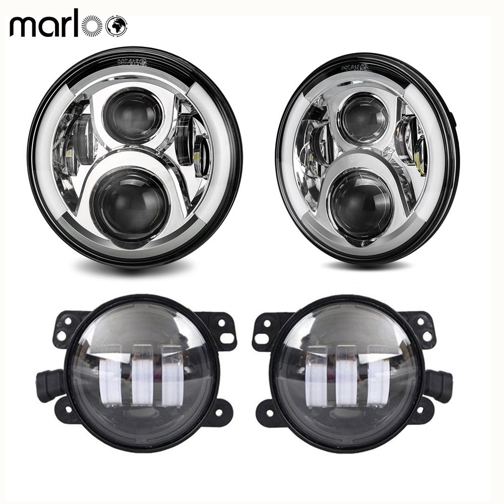 Marloo 7 LED Headlights White DRL Amber Turn Signal Halo 60W W/ For Jeep Wrangler JK Unlimited Front Bumper 4inch Fog Light