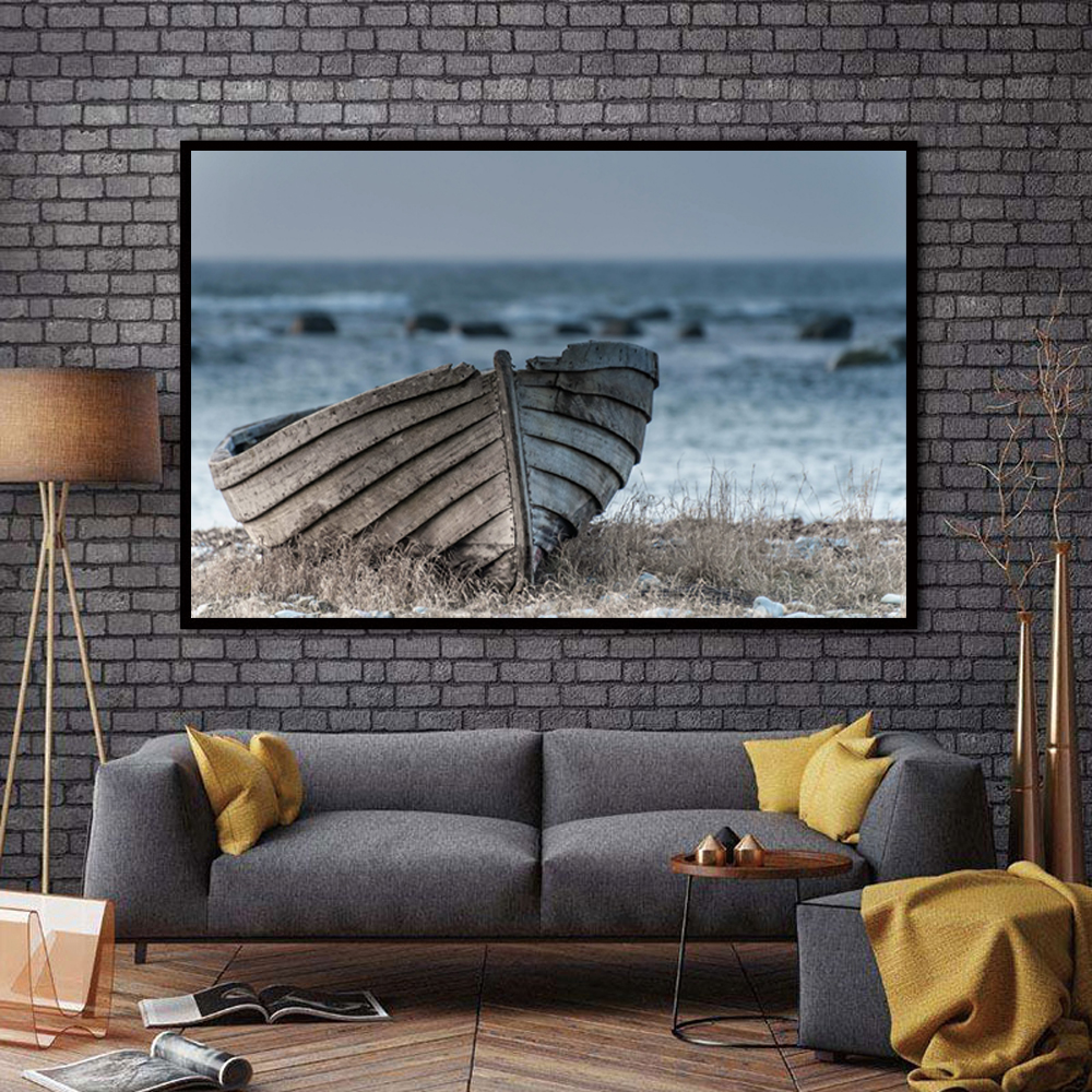 ZZ2349 Canvas Paintings Wall Art Prints Poster Cool Abandoned Fishing Boat Seascape Pictures Home Decor Living Room unframed