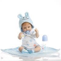 16 Inch 40 Cm Silicone Baby Reborn Dolls Lifelike Doll Reborn Lovely Blue Suit Boys And