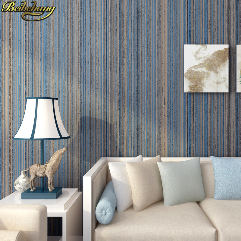 Beibehang Papel De Parede 3d Blue Stripes Solid Wallpaper Modern Striped Wall Paper Roll Wallpapers For Living Room Decoration