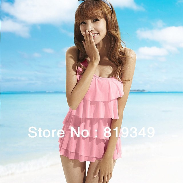 2013 NEW VANCL Women Bathing Suit One Shoulder Layered Swimsuit Styling Optional Breast Pads Stretch Pink M L XL FREE SHIPPING