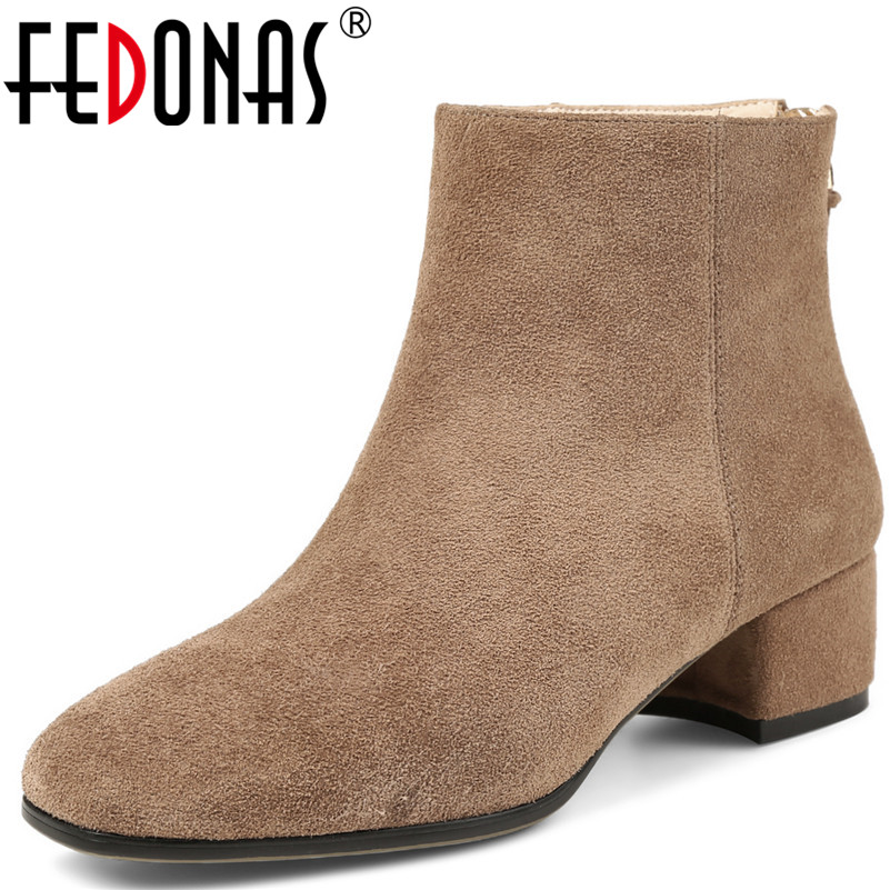 FEDONAS Fashion Women Genuine Leather Ankle Boots Zipper Brand Design Quality Autumn Winter Warm Shoes Woman High Heeled Boots