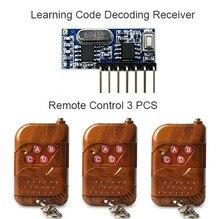 3 шт. 433 мГц Дистанционное управление и 1 шт. 433 мГц Беспроводной приемник обучение код 1527 модуль декодирования 4ch выход с кнопку обучения