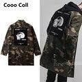 Los Hombres de moda Streetwear Extendida Del Ejército Militar Camuflaje Denim Kanye Temor de dios Justin Bieber Chaqueta Chaquetas Cooo Coll