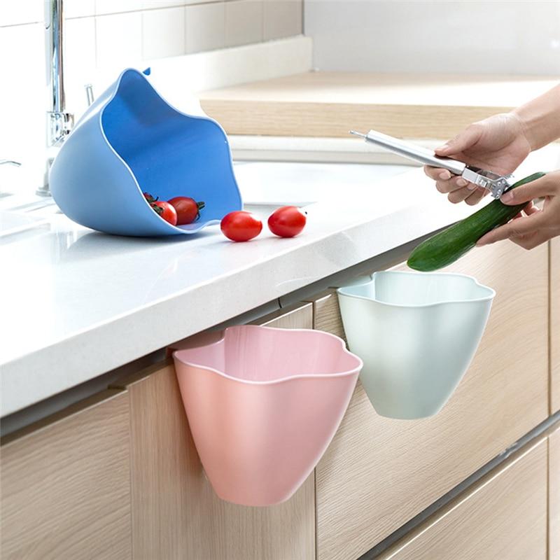 TTLIFE Cabinets Door Trash Kitchen Countertops Storage Box Household Desktop Plastic Trumpet Trash Random Color