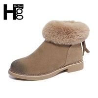 HEE GRAND Fuzzy Faux Fur Women Boots Autumn Winter Nubuck Riding Boots Zip Black Camel Shoes