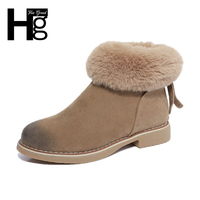 HEE GRAND Fuzzy Faux Fur Women Boots Autumn Winter Nubuck Riding Boots Zip Black Camel Shoes