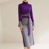 Multiflora 2018 formal dress women elegant purple long sleeve ruffle turtle neck offcie dress winter empire bodycon women dress