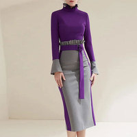 Multiflora 2018 formal dress women elegant purple long sleeve ruffle turtle neck offcie dress winter empire bodycon women dress
