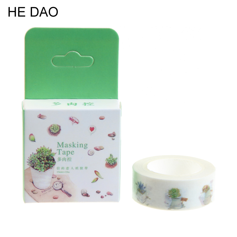 1 Pcs 10m*15mm Green Fresh Leaf Succulent Diy Paper Japanese Washi Tapes Masking Adhesive Tapes 10m Scrapbooking School Supplies