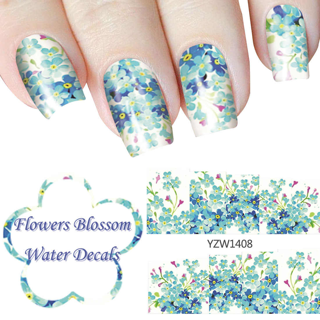 Nail Foil Glue Romantic Blue Flowers Blossom Water Decal Nail Art Manicure Stickers for Nails Adesivos Nail Water Sticker