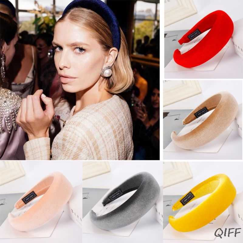 16 Colors Women Padded Wide Sponge Headband Glitter Velvet Sweet Candy Color Hair Hoop Vintage Party Stretchy Thick Headpiece