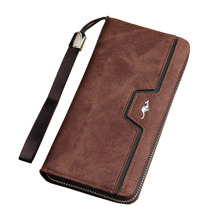 цена на Kangaroo Brand 2017 New Long Wallet Frosted surface Men Bag Fashion Cash Wallets Card Holder Coin Purse Clutch Men Hand Bag