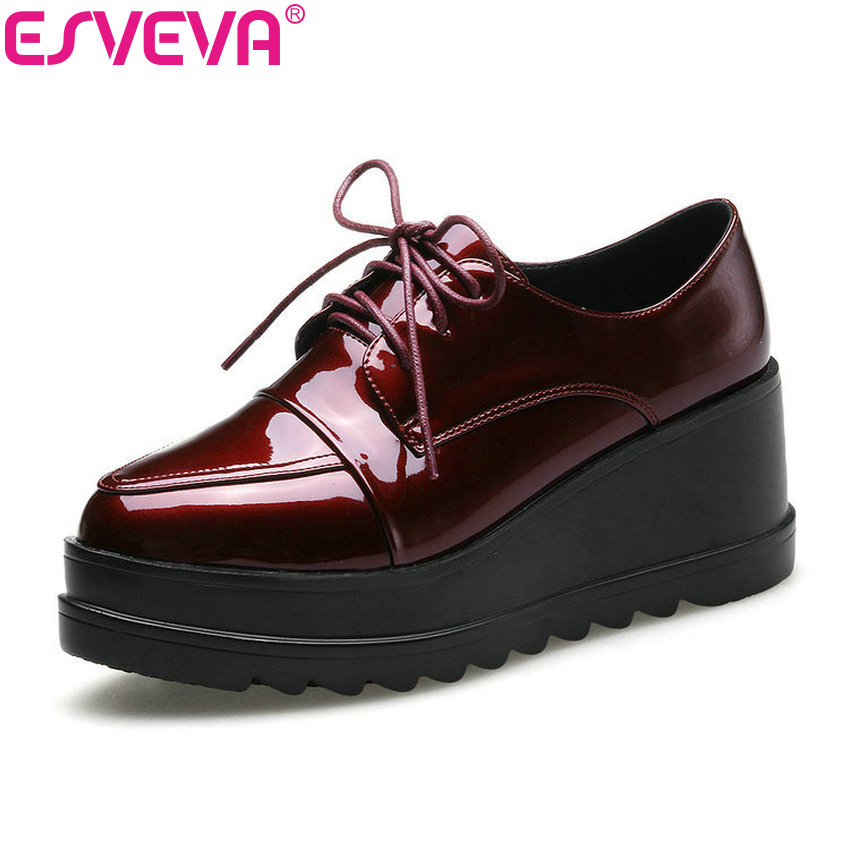 ESVEVA 2018 Women Pumps Platform Wedges High Heel Pumps Spring Autumn Patent Leather Lace Up Round Toe Women Shoes Size 34-42 morazora plus size 34 42 wedges shoes med heels 4 5cm round toe single shoes fashion lace up women pumps platform