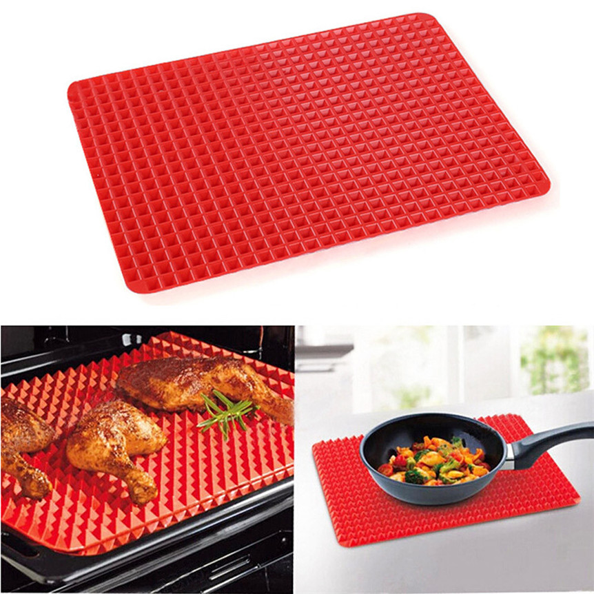Pyramid Pan Non Stick Fat Reducing Silicone Cooking Mat Oven Baking Tray Sheets oct1031 Extraordinary