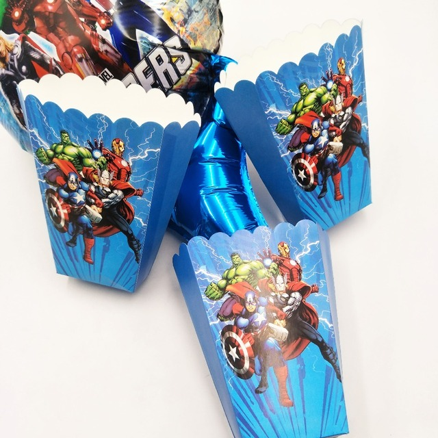 6 Pcs Set Avengers Kids Birthday Party Supplies Popcorn Box Case Gift Favor Accessory