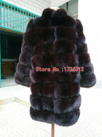 Real fox fur fur coat fox fur coat collar stripe long paragraph long sleeved