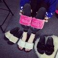 Люксовый бренд женщина мех слайды пару тапочки мужчины и женщины дома слайд меховые сандалии тапочки с перьями известный бренд триггера