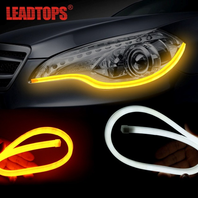 LEADTOPS PCS Flexible LED Drl Dual Color Side Turn Signal Light - Car signal light
