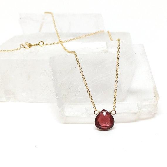 f36677e8237e Verde Púrpura Granate Collar de Oro Rosa de Plata G Enfrentó Regalo Rojo Granate  Piedras Preciosas para su Regalo de Cumpleaños Pendiente de La Joyería en  ...