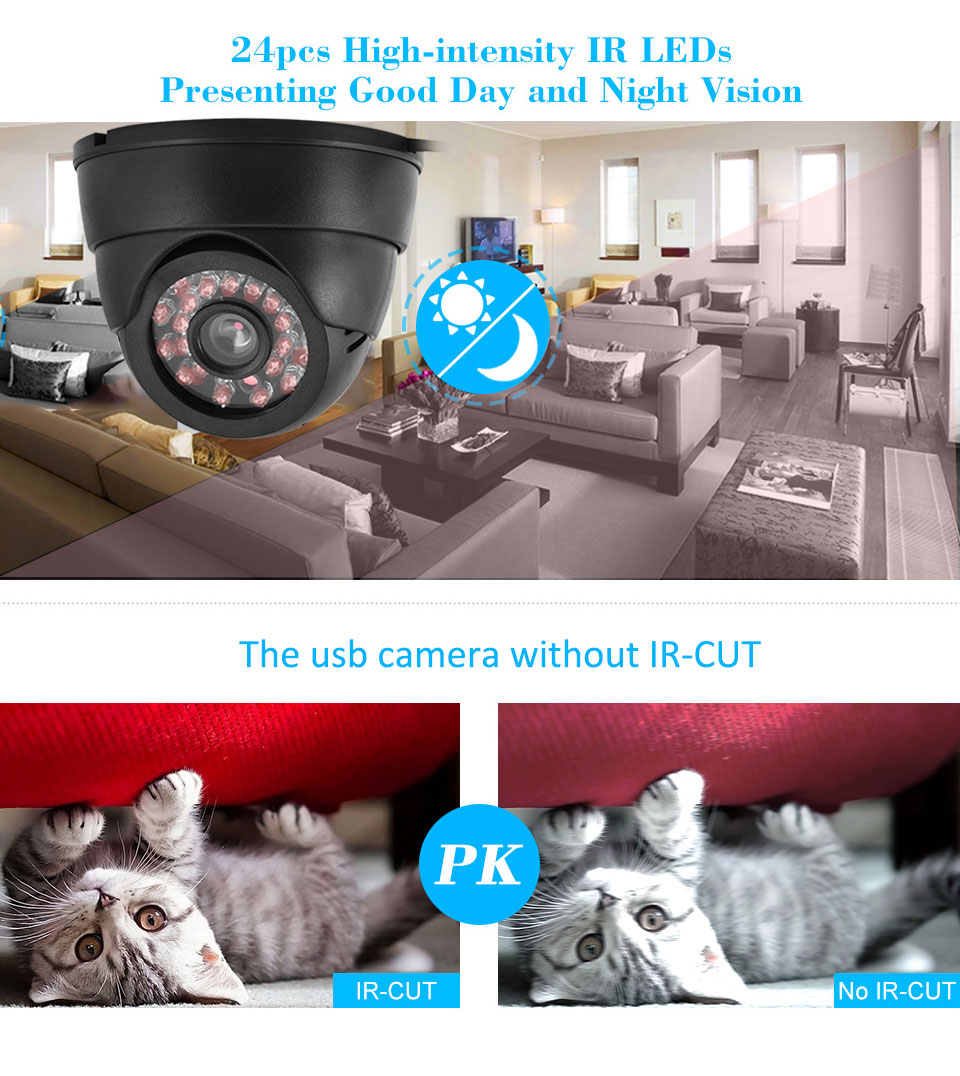 CCTV Dome Camera with 16G TF Card IR Night Vision Motion Detection CCTV DVR Loop Recorder Security Camera USB