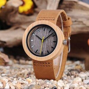 Image 3 - BOBO ptak bambusa kobiet zegarki skórzany pasek kwarcowy analogowy drewna zegarki relogio feminino w szkatułce zaakceptować Logo