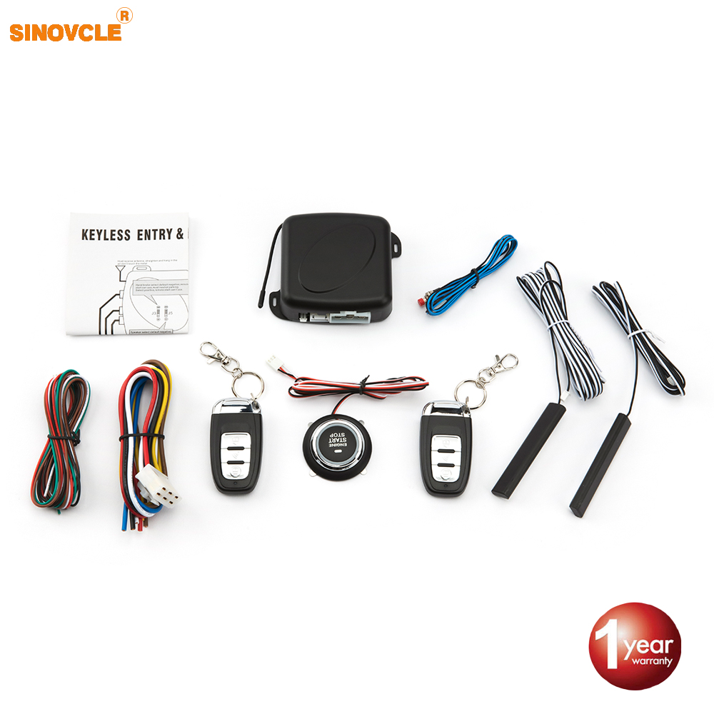 Sinovcle Car Alarm Remote Control Car Keyless Entry Engine Start Alarm System Push Button Remote Starter Stop Auto