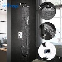 Frap Новый латунь настенные ванной смесители термостатические смеситель для ванны набор для душа с круглым Насадки для душа хромированной от