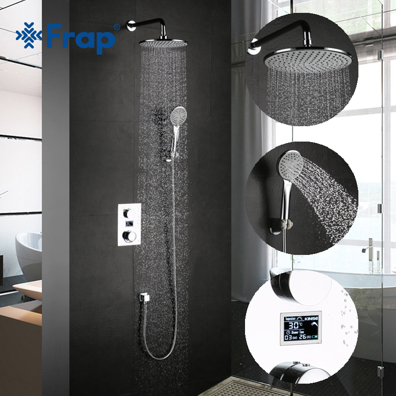 Frap new brass wall mounted bathroom Thermostatic Faucets mixer bath shower set with round Shower Head Chrome Finish YLD1133 frap new shower faucet set bathroom thermostatic faucet chrome finish mixer tap abs handheld shower wall mounted f2403