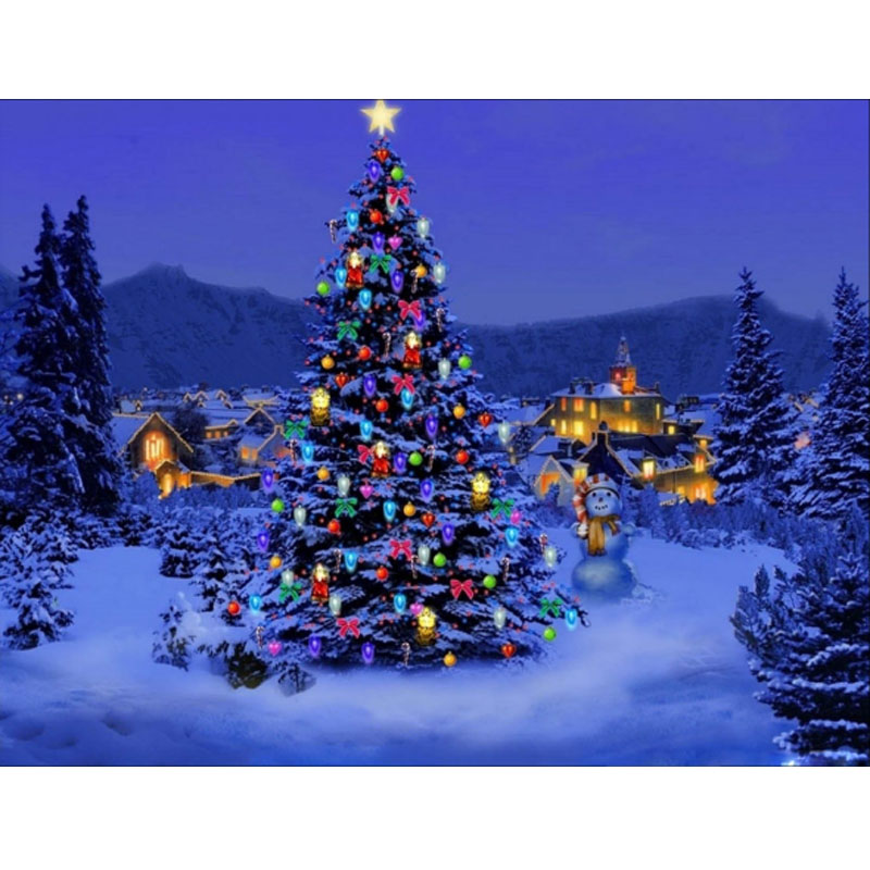 Good Christmas Tree Scenery Part - 13: DIY Christmas Tree Scenery Picture 5D Diamond Painting Cross Stitch Diamond  Embroidery Mosaic Pattern Arts And
