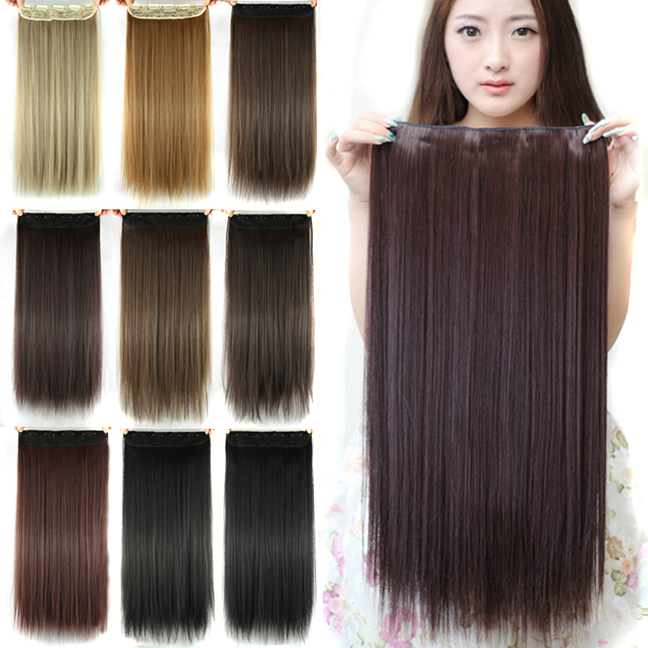 Soowee 60cm Long Straight Women Clip in Hair Extensions Black Brown High Tempreture Synthetic Hair Piece