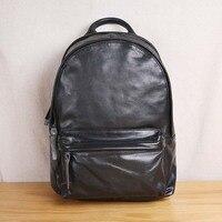 AETOO первый слой кожи супер мягкие кожаные большая емкость плечо мужская сумка рюкзак сумка для ноутбука школьная сумка