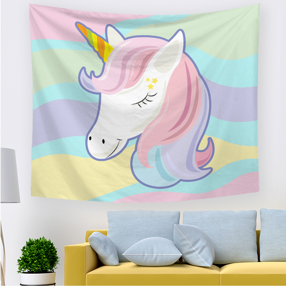 Tapestry Unicorn Hippie Wall Hanging Tapiz Pared Tela Psychedelic Wandkleed Tapiz Tenture Murale Tissus Wandteppich Gobelin image
