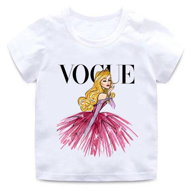 Moda princesa T camisa de dibujos animados divertido niños casuales ropa de verano ropa Harajuku bebé blanco camiseta HKP5209