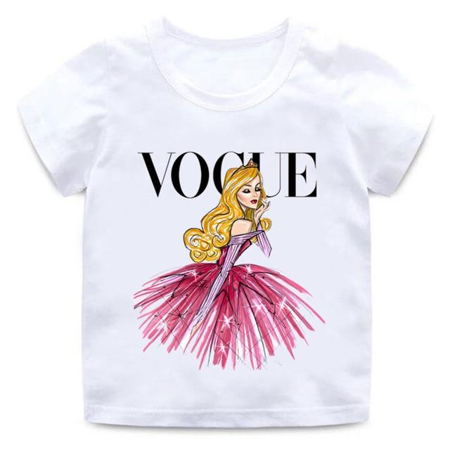 VOGUE Princess Print Girls T shirt Cartoon Funny Casual Kids Clothes Summer Harajuku White Baby T-shirt,HKP5209