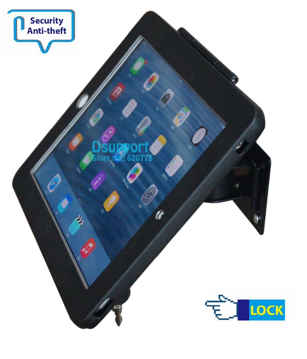 Fit for iPad 2/3/4/5/air/pro wall mount metal case for ipad stand bracket tablet pc lock holder support full motion angle fit for ipad mini1 2 3 4 wall mount aluminum metal case bracket security desktop support for ipad mini holder for tablet