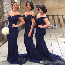 2016 Navy Blue Lace Off Shoulder Mermaid Sweep Train Bridesmaid Dress Elegant Long Formal Dress for Women Button Back  BD122