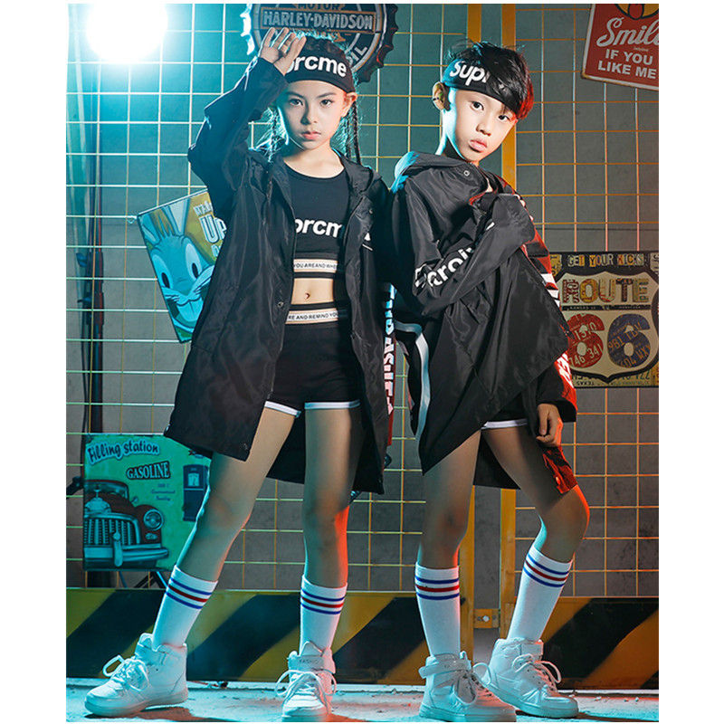Boys Jazz Dance Costumes Sets Children Hip-Hop Performance Clothing Girls Black Letter Jacket Christmas Party Clothing