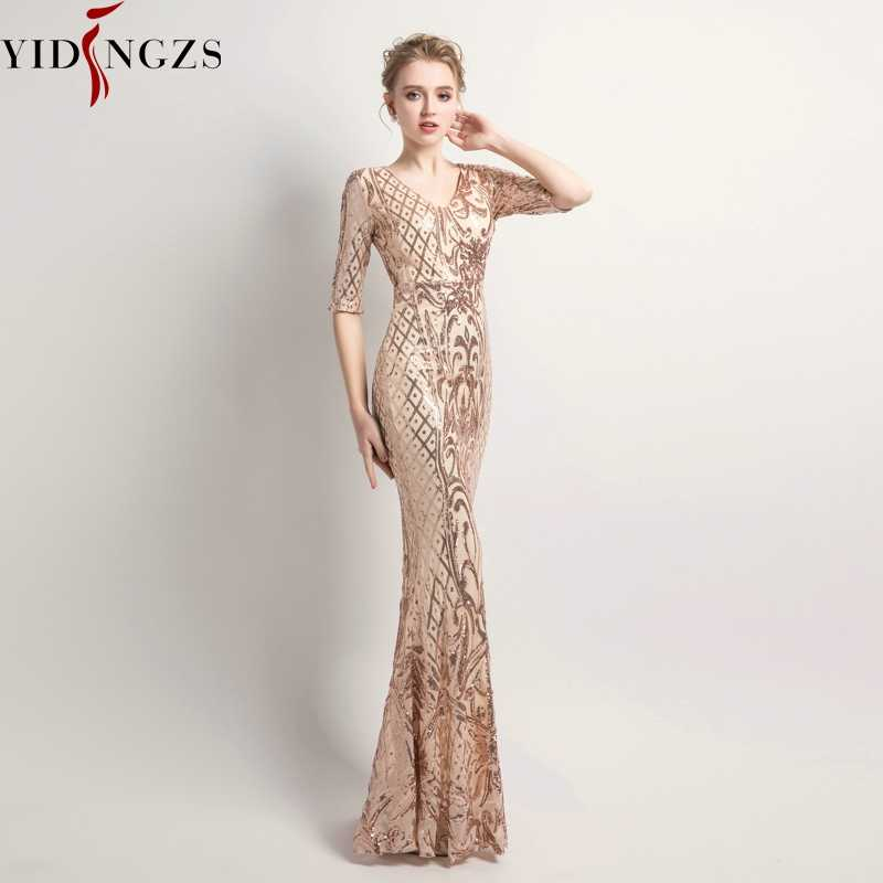 Yidingzs Vrouwen Elegant Mermaid Gold Pailletten Jurk Half Sleeve Avond Party Dress YD083