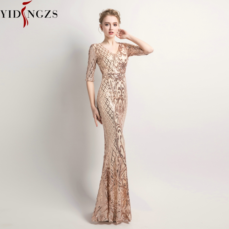YIDINGZS Women's Elegant Mermaid Gold Sequins Dress Half Sleeve Evening Dress Party Long Prom Dress