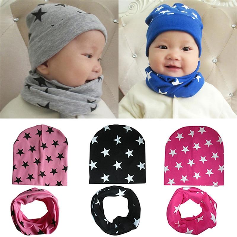 New 2 Pcs/ Set Hat Scarf Baby Winter Cap Stars Pattern Beanie cap Warm Hats for Children Neck Warmer Photography Props