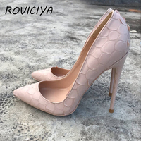 Wedding Shoes Bride Sexy Womens Black High Heel Shoes Pointed Toe Apricot Party 12cm Stiletto Heels plus size YG025 ROVICIYA