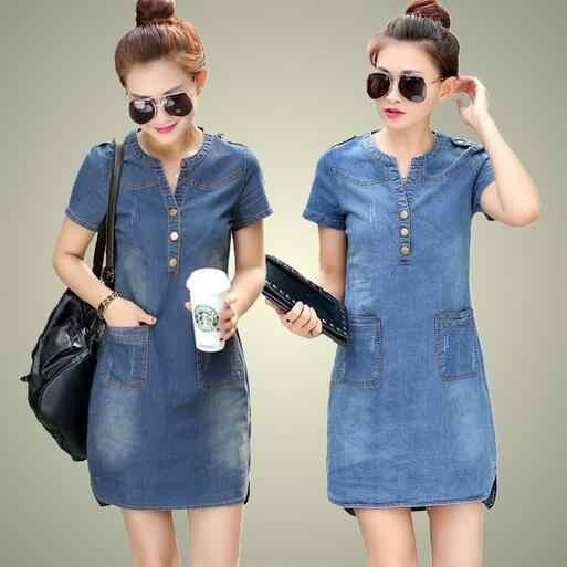 2019 новое летнее платье из джинсовой ткани женское свободное модное джинсовое платье леди тонкий короткий рукав Большие размеры DW742
